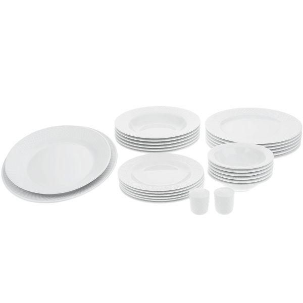 سرویس غذاخوری 28 پارچه چینی زرین ایران سری رادیانس مدل سفید درجه یک