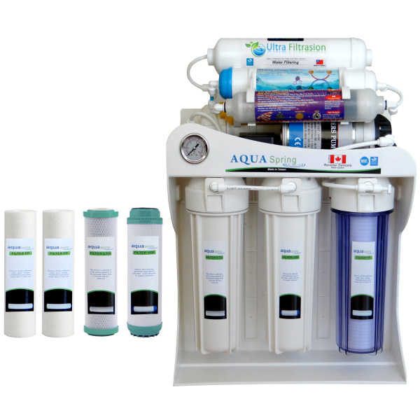 دستگاه تصفیه کننده آب آکوآ اسپرینگ مدل UF-SF4000 به همراه فیلتر دستگاه تصفیه کننده آب بسته 4 عددی