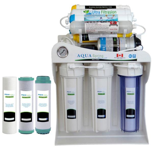 دستگاه تصفیه کننده آب آکوآ اسپرینگ مدل UF - SF4800 به همراه فیلتر مجموعه 3 عددی