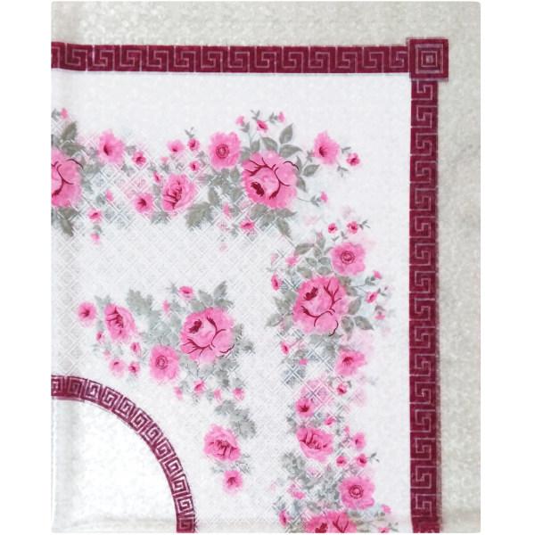 سفره پلاستیکی چهار نفره طرح شکوفه های گیلاس رنگ سفید سایز 92×120 سانتی متر