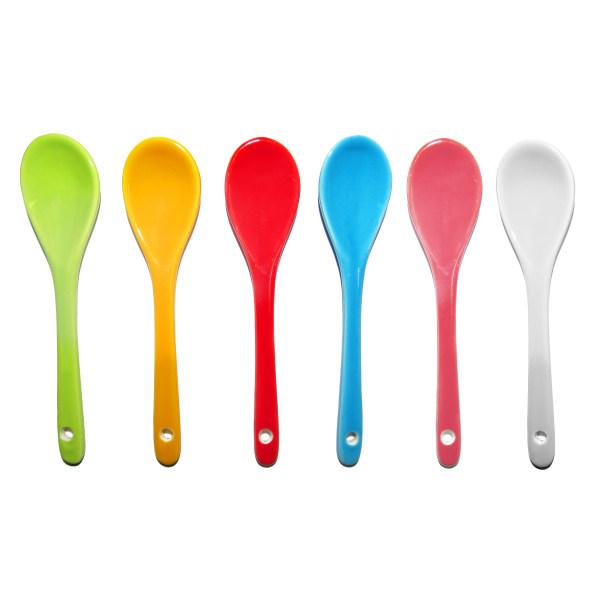 پیمانه ادویه و قاشق چایخوری سرامیکی مدل رنگین کمان مجموعه 6 عددی